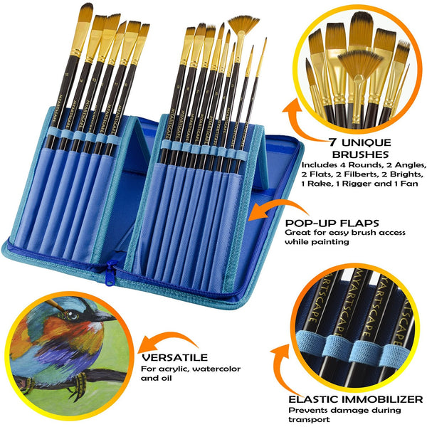 Paint Brushes - 15 Pc Brush Set for Watercolour, Acrylic, Oil & Face Painting | Long Handle Artist Paintbrushes with Travel Holder (Cool Blue) & Free Gift Box | Premium Art Supplies by MyArtscape™