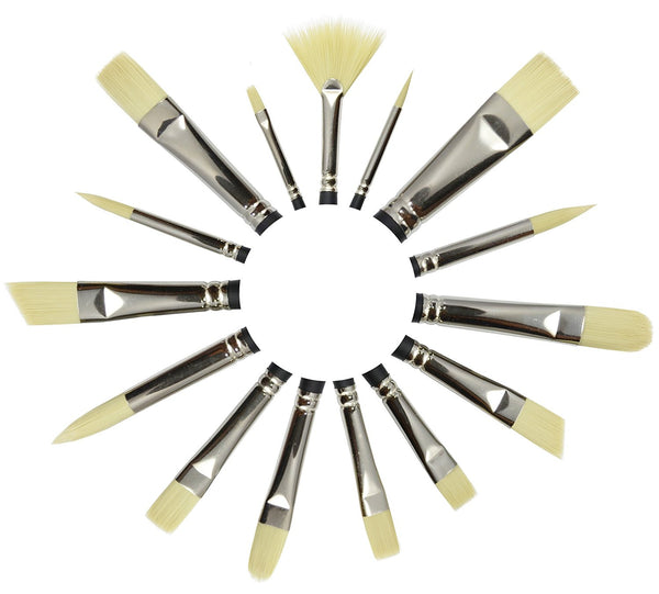 Imitation Bristle Brushes - 15 Pc Stiff Brush Set for Oils w/ Free Case & Gift Box