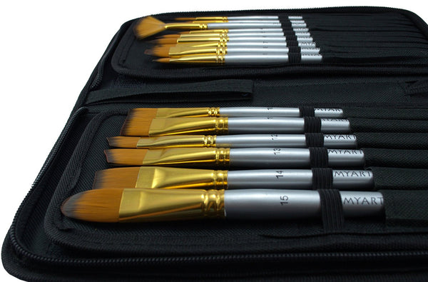 Synthetic Paint Brushes - 15 Pc Short Handle Brushes - Free Travel Holder & Gift Box