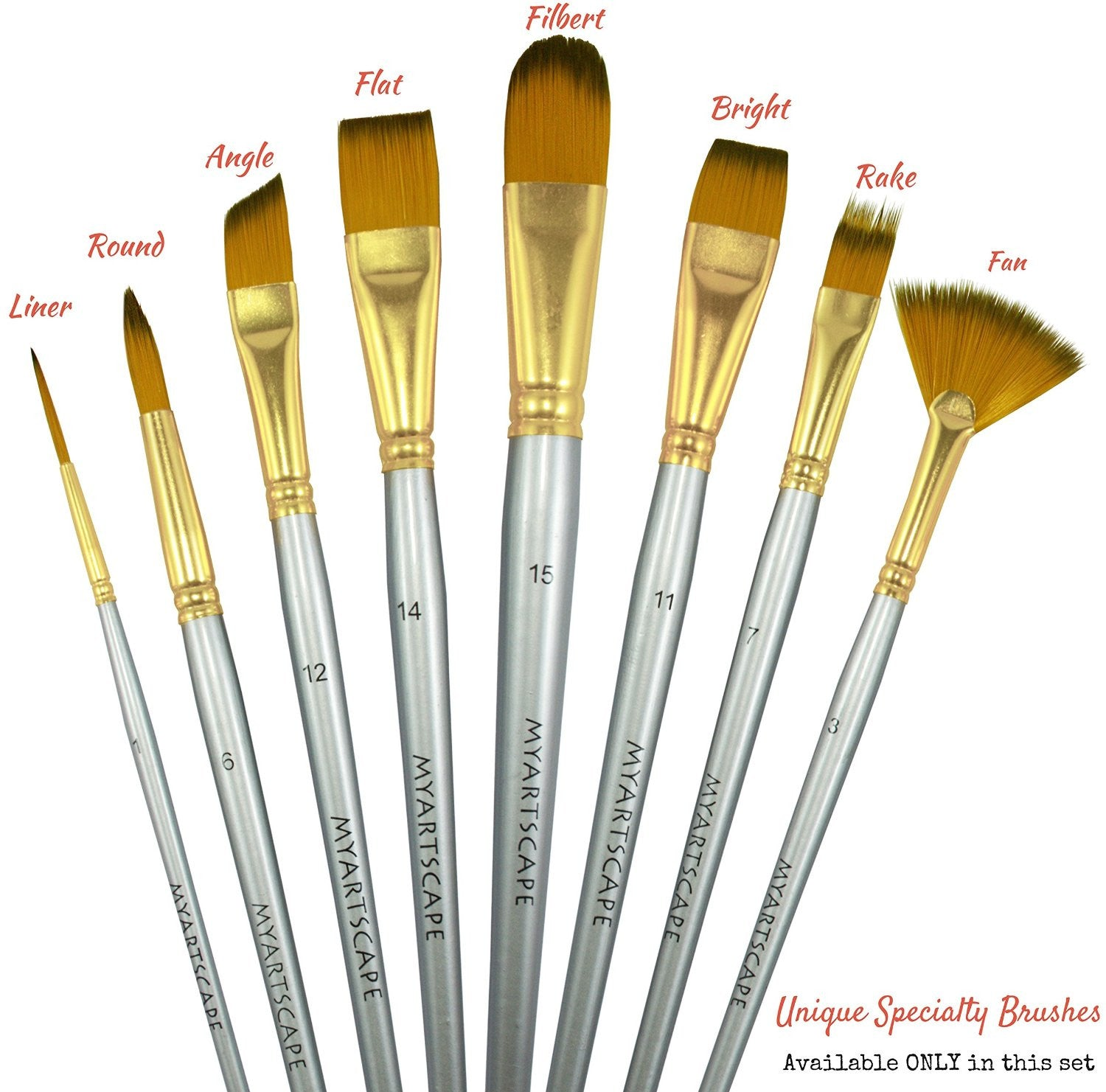 Synthetic Paint Brushes - 15 Pc Short Handle Brushes ...