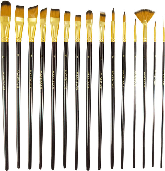 Synthetic Paint Brushes - 15 Pc Long Handle Brushes