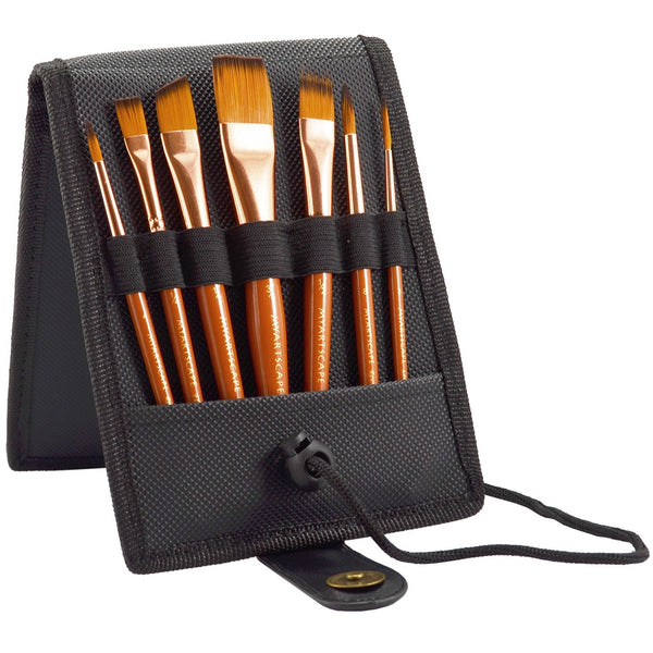 Paint Brush Set - 7 Travel Brushes for Acrylic, Oil, Watercolour, Gouache and Plein Air Painting - Ultra Short Handle - Professional Artist Carry Case - 1 Year Warranty - Art Supplies by MyArtscape™ (Black)
