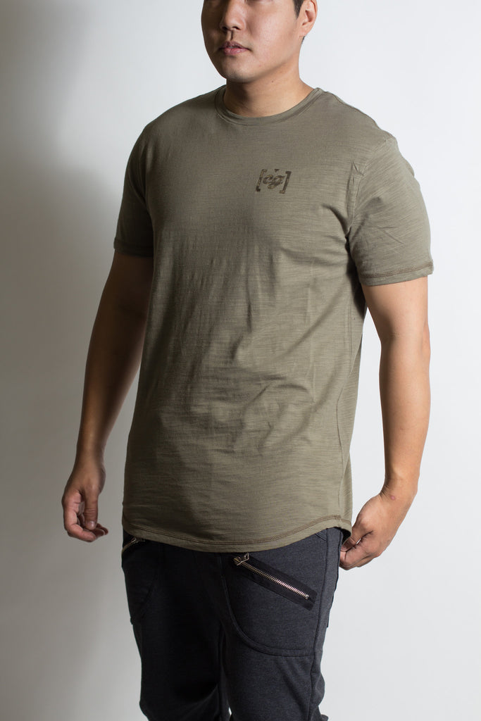 Olive CG Slub Scallop Bottom Tee Men's Fit