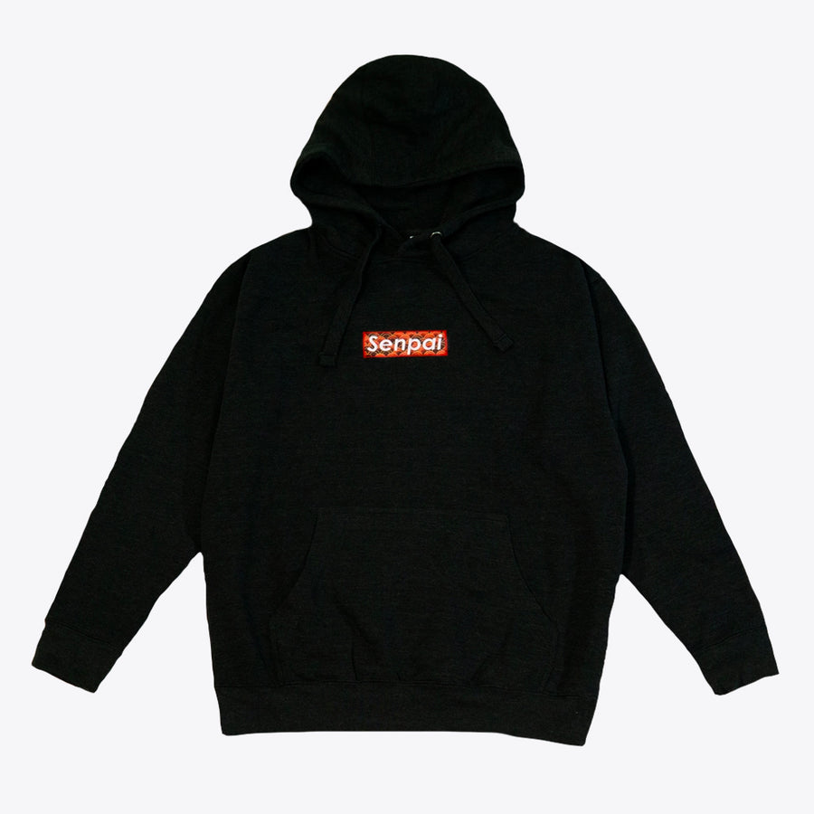 Senpai Embroidered Box Logo Hoodie BLACK