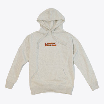 Senpai Embroidered Box Logo Hoodie OATMEAL