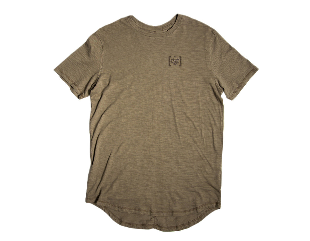 Olive CG Slub Scallop Bottom Tee