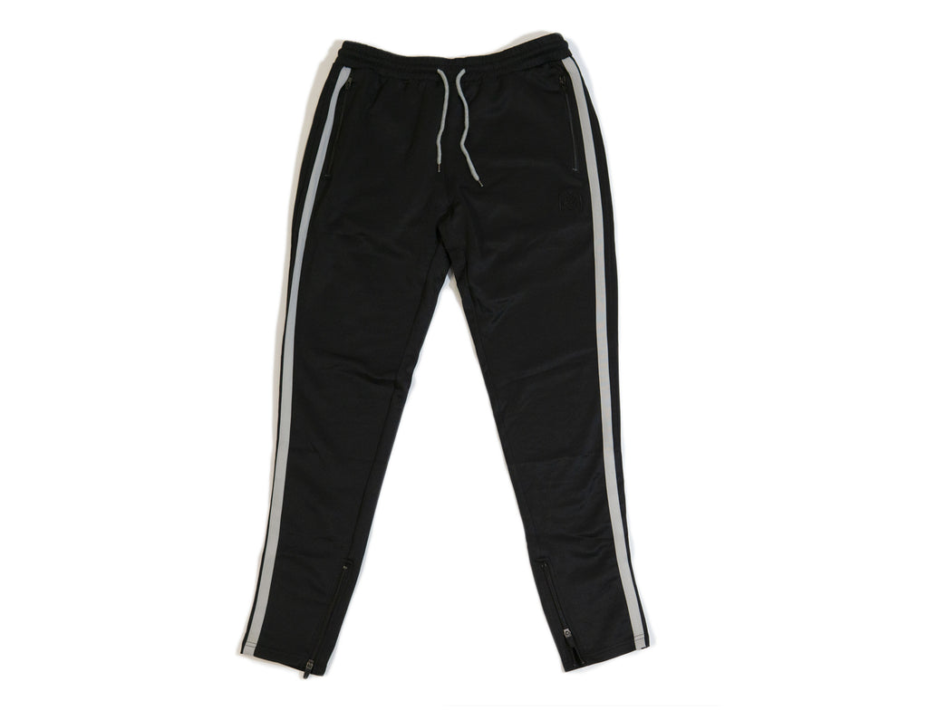 Black Track Pants w/ Double Nanami Gray Stripes Mens