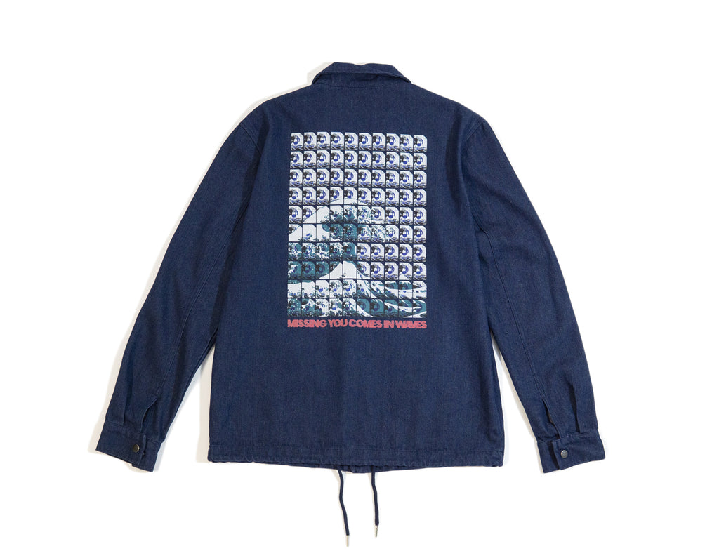Missing You Comes In Waves Denim Coach Jacket