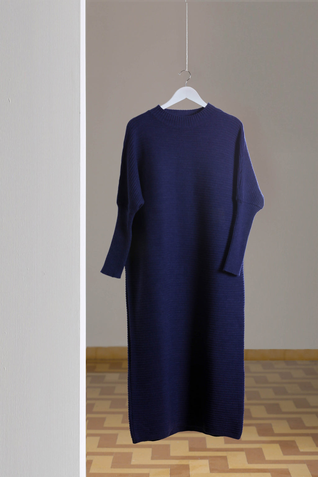 Wool Blend Maxi Knitted Dress- Navy