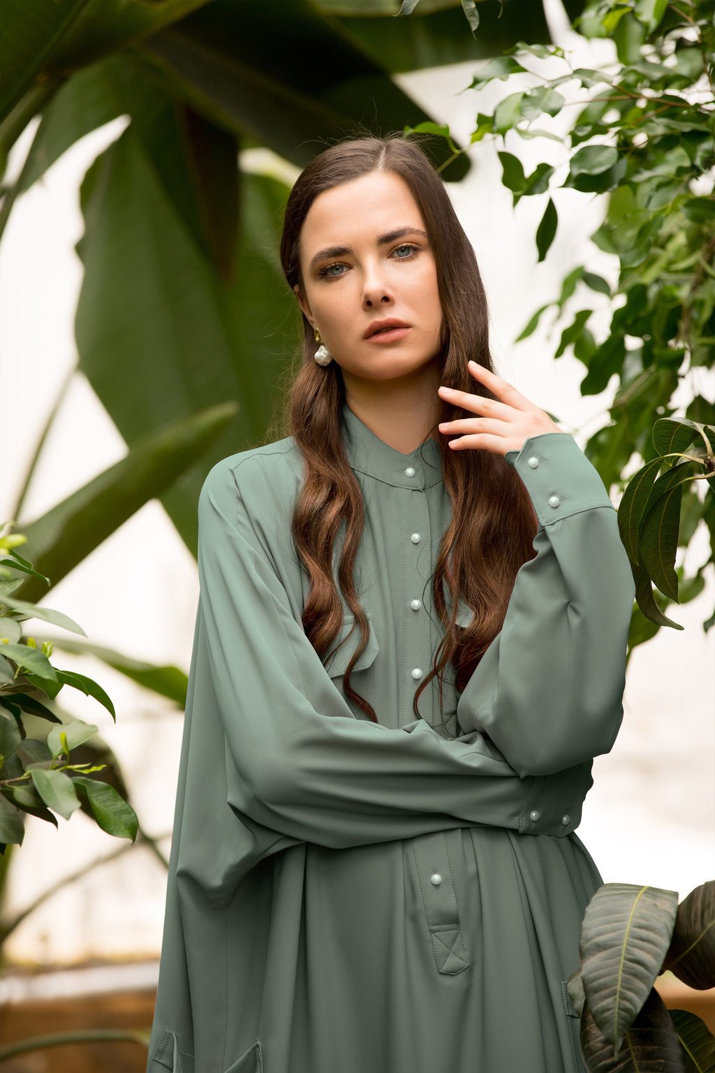 Jenna Oversized Maxi Shirtdress - Sage
