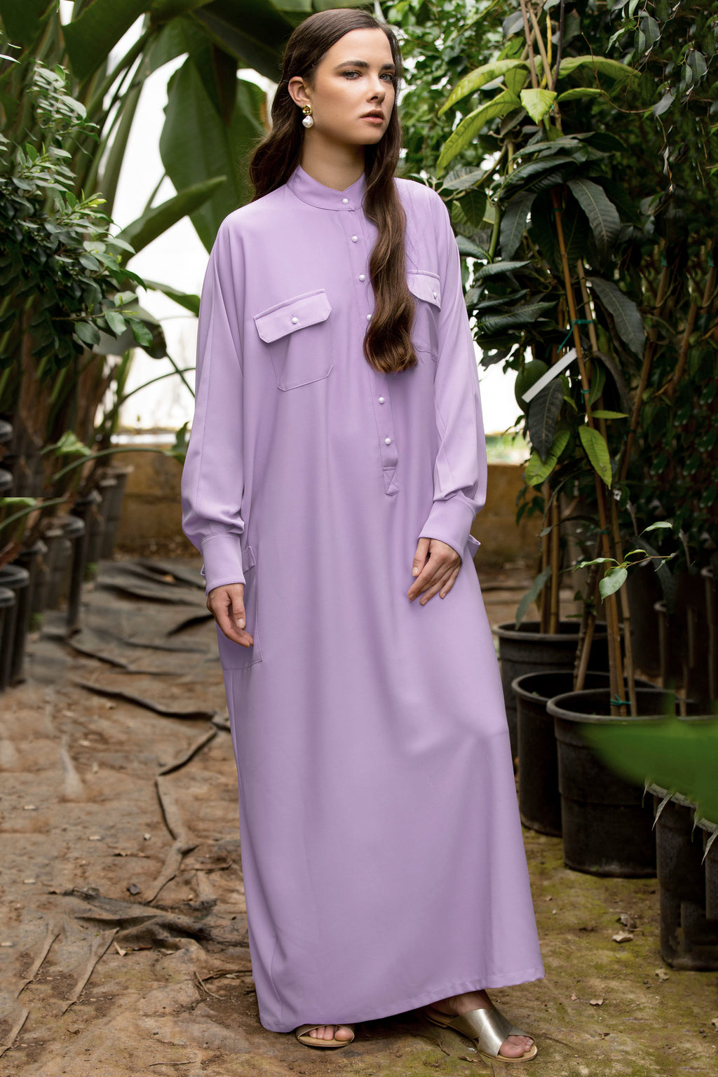 Jenna Oversized Maxi Shirtdress - Lilac