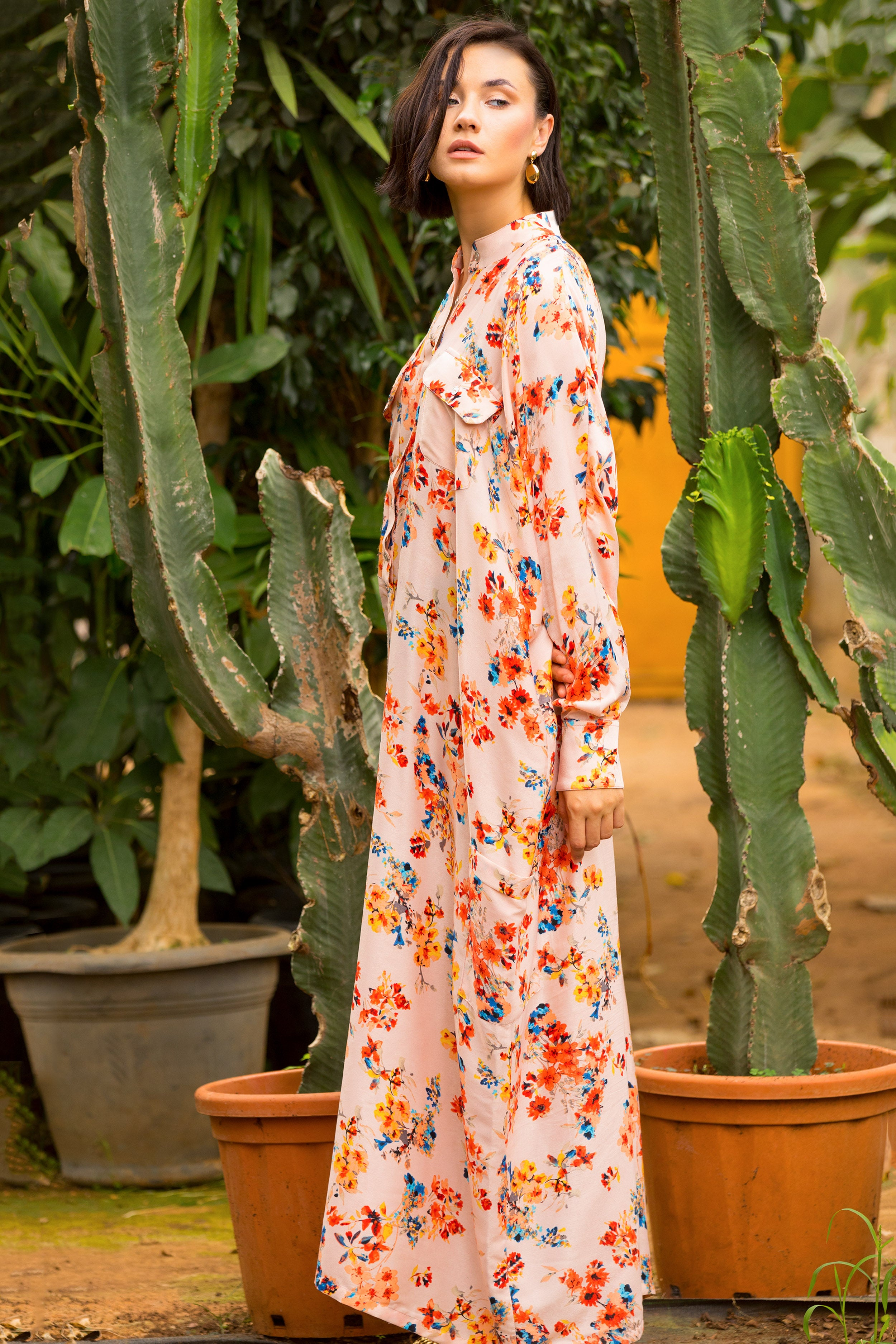 Floral Jenna Oversized Maxi Shirtdress