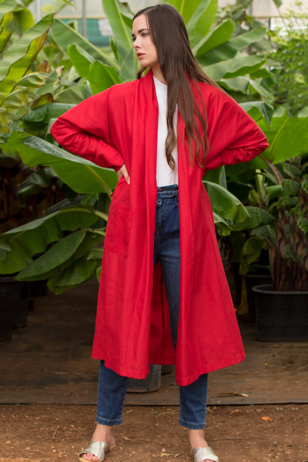 Red Ray Linen Wrap Cardigan