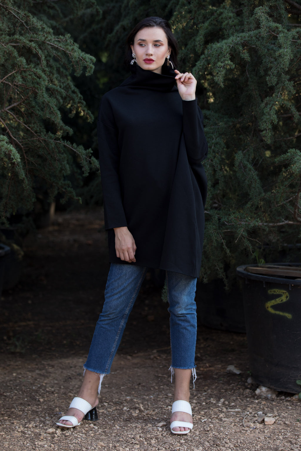 Black Meem Fleece Asymmetric Top