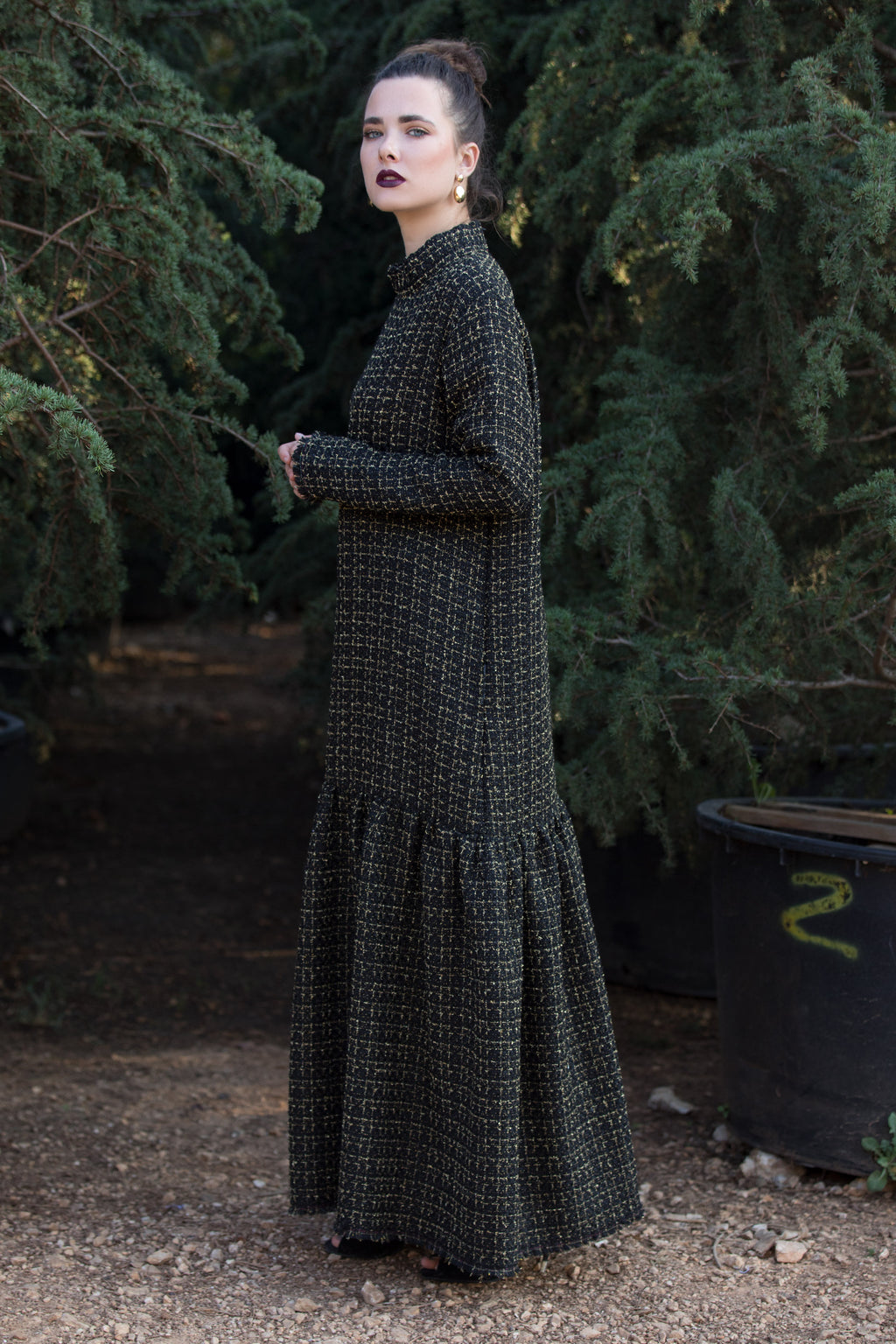 Black Maxi Bouclé Dress