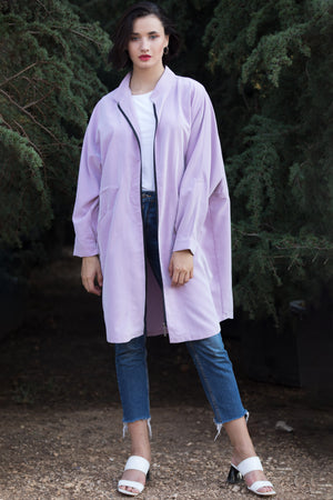 Lilac Oversized Cupro Zip Up Jacket