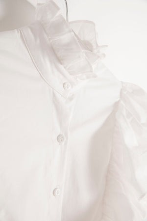 White Ruffled Shirtdress