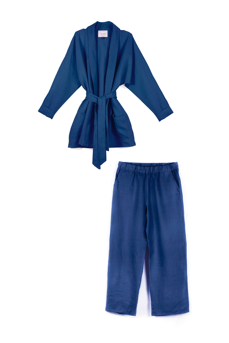 Linen Ruby Coord Set - Navy