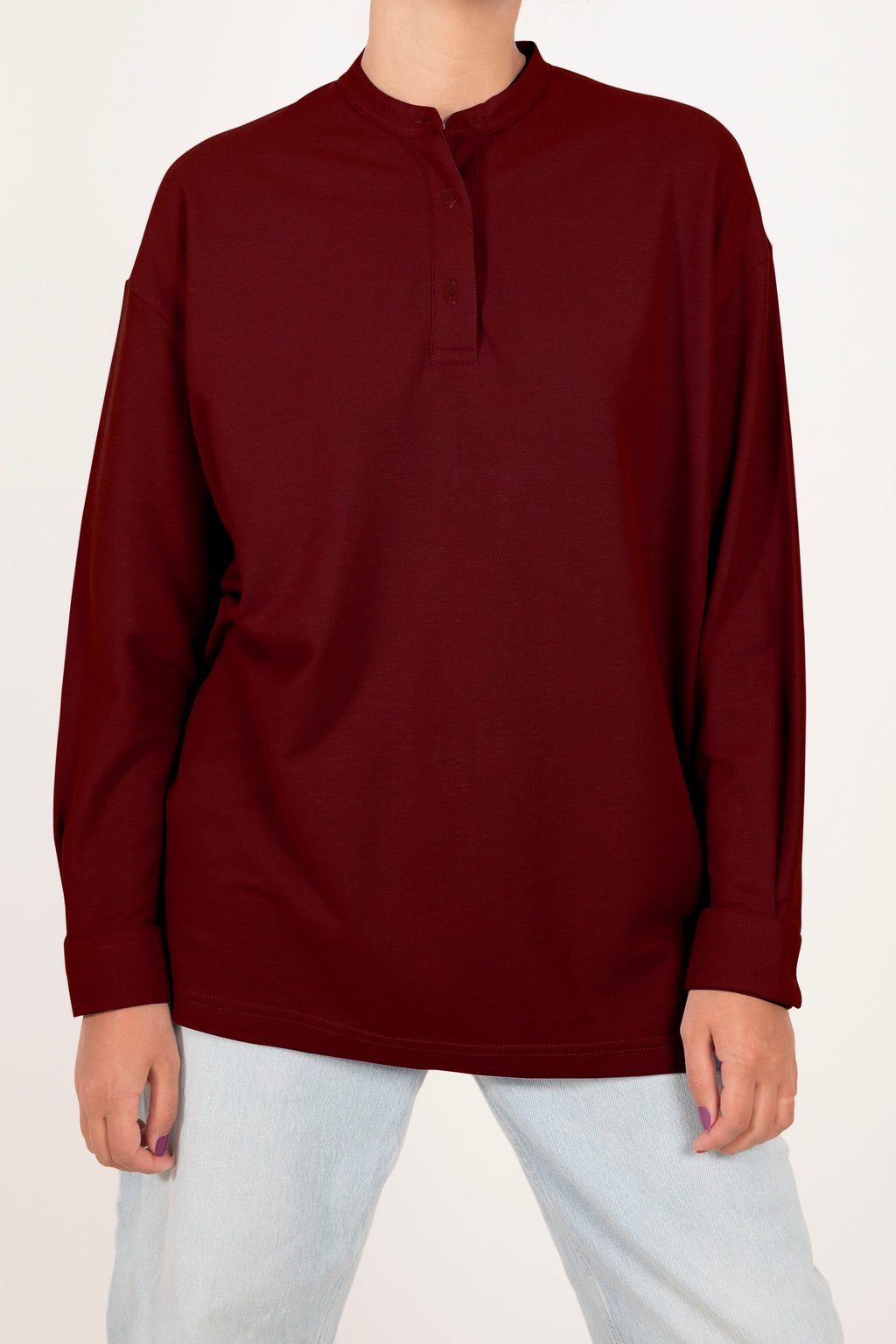 Oversized Polo Shirt - Scarlet