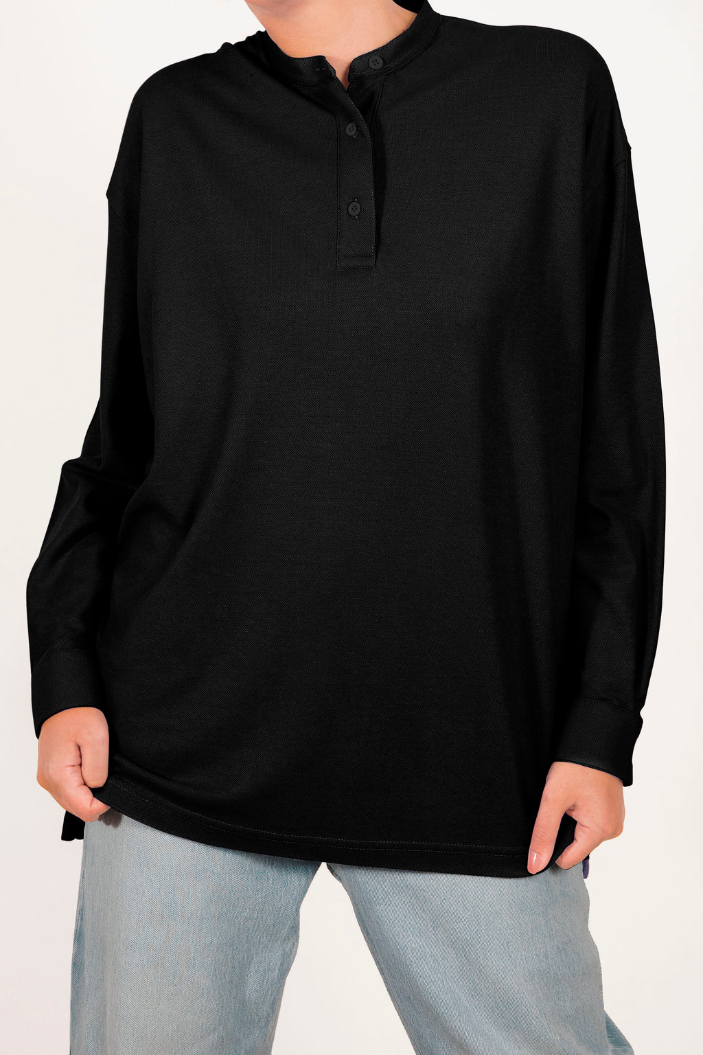 Oversized Polo Shirt - Black