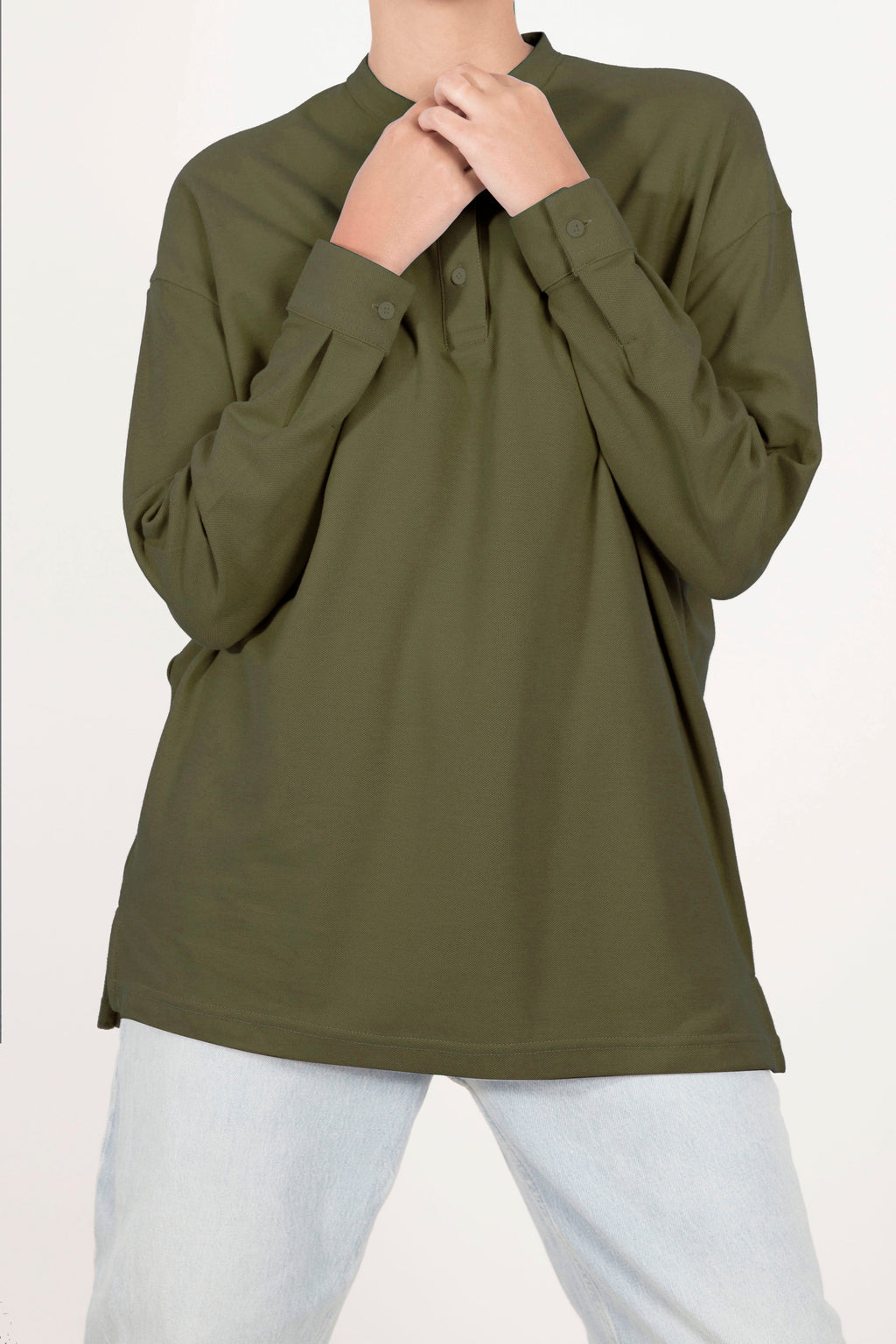 Oversized Polo Shirt - Olive
