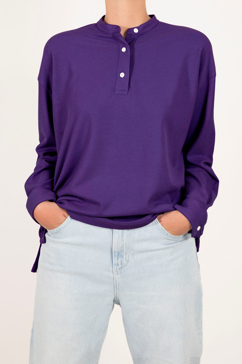 Oversized Polo Shirt - Purple