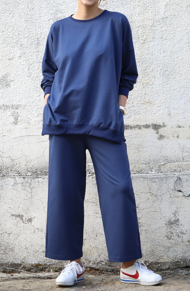 Anya Slit Sweatshirt in Indigo