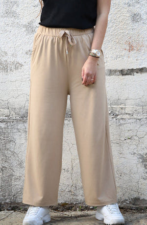 Wide Sweatpants in Beige