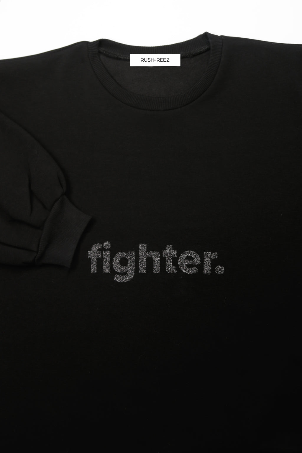 Black Glitter Fighter Sweatshirt