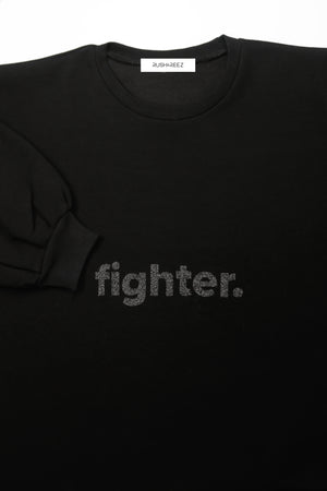 Black Glitter Fighter Top