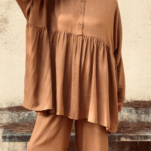 Tan Ruffled Shirt