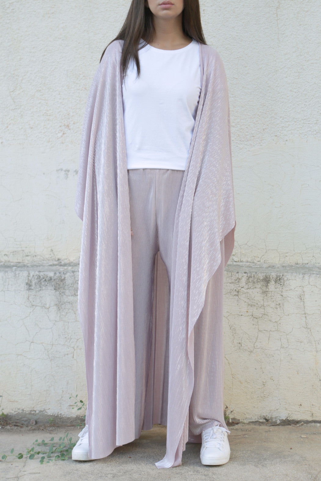 Pleated Pink & Silver Ensemble