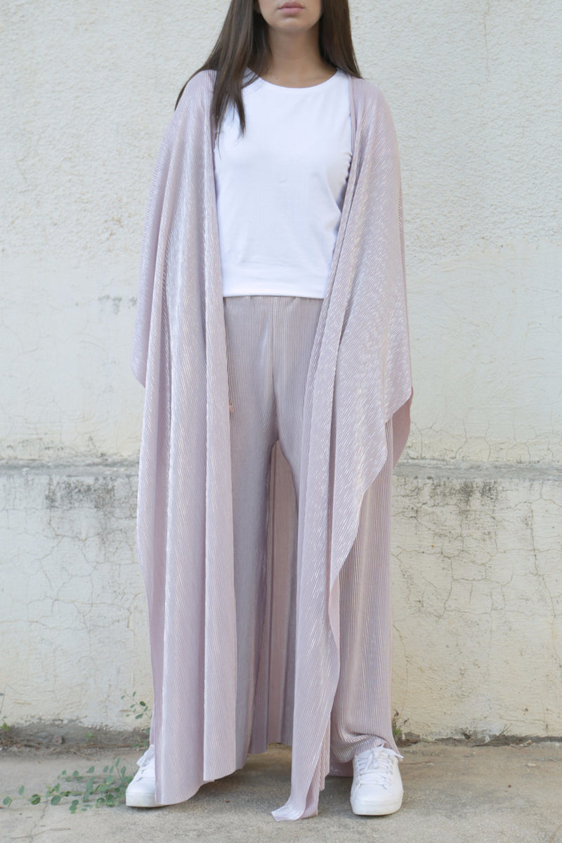 Pleated Pink & Silver Coord Set