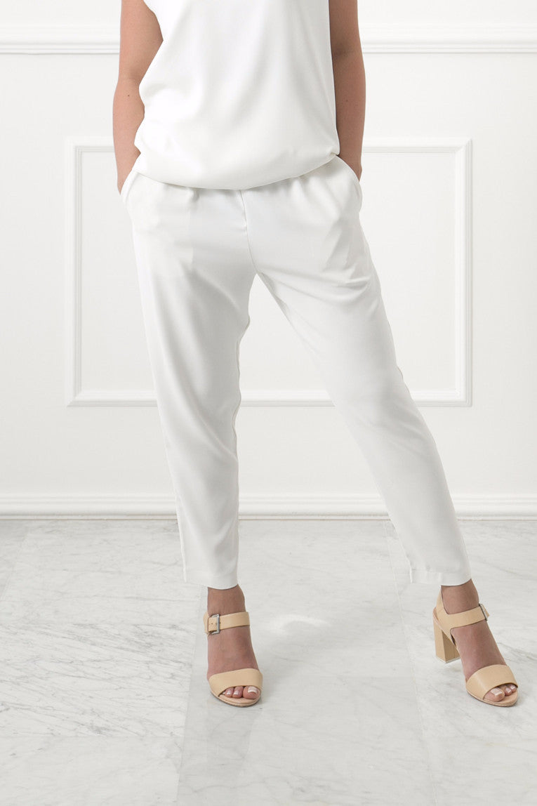 Cream Tapered Pants