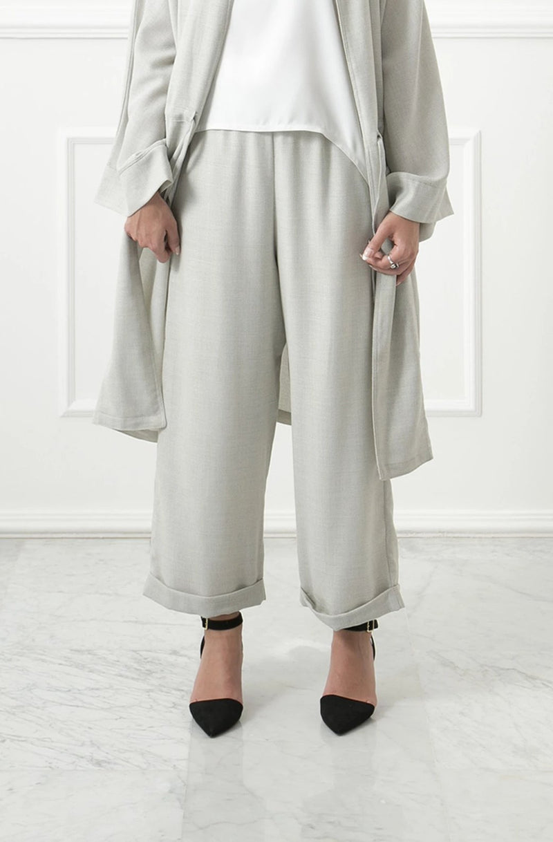 Beige Linen Wide Pants