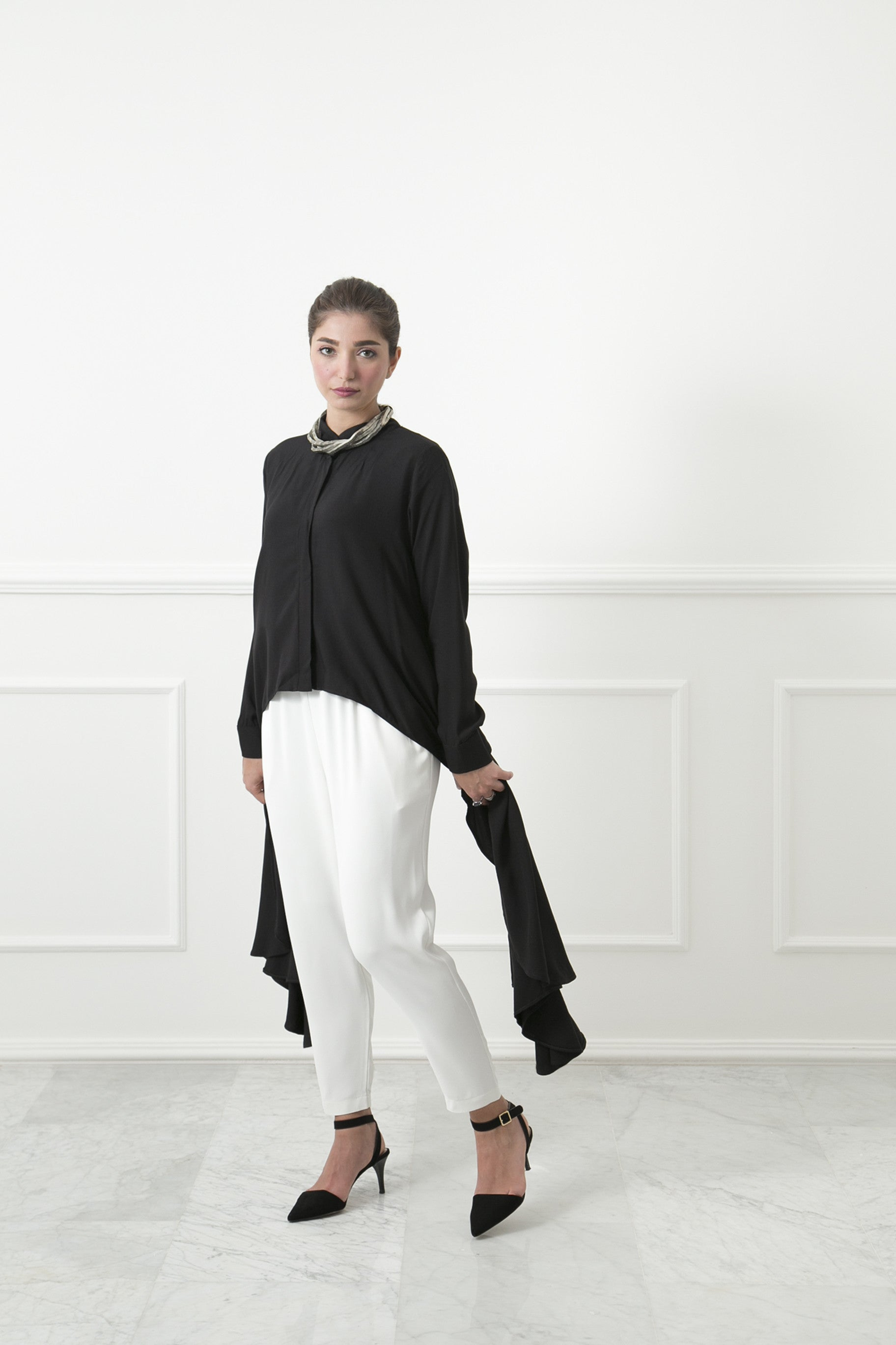 Black Ruffle Tail Shirt