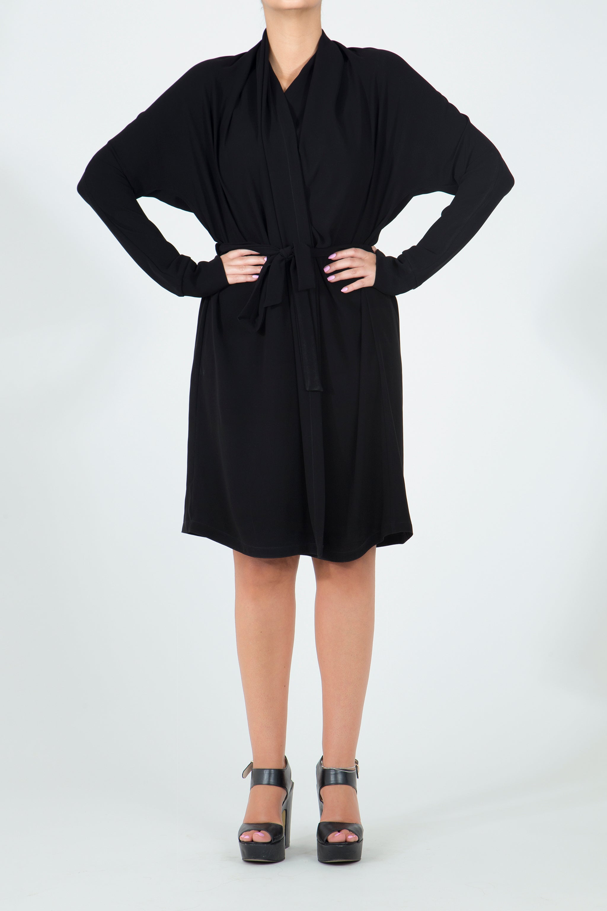 Black Belted Robe Dress