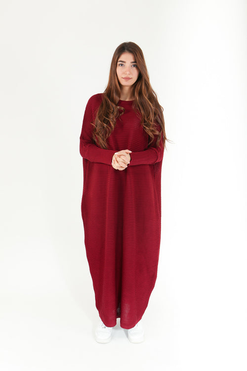 Burgundy Maxi Knitted Dress