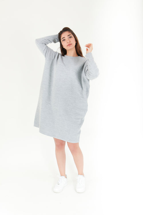 Grey Knitted Jumper Dress
