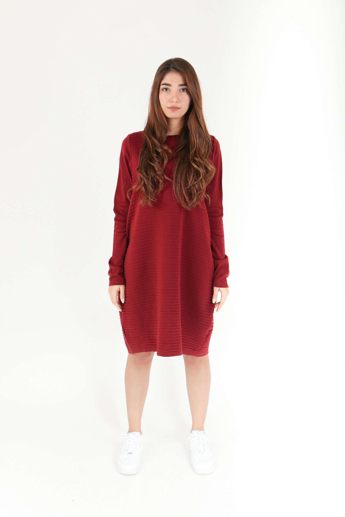 Burgundy Knitted Jumper Dress