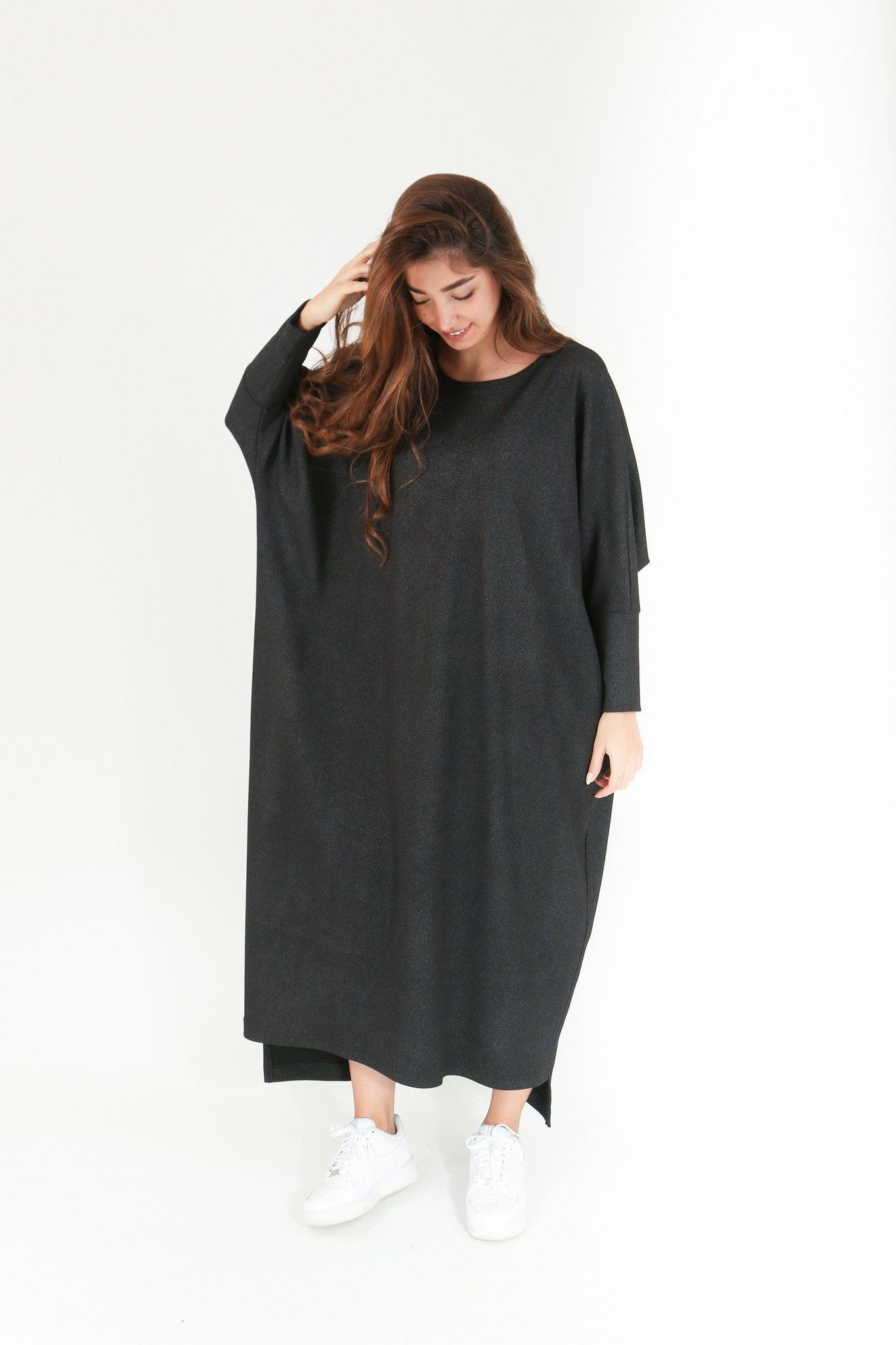 Maxi Oversized Grey Shimmering Dress