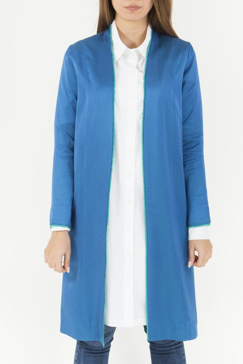 Blue Grosgrain Longline Jacket