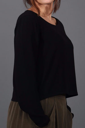 Black Midi Crepe Top
