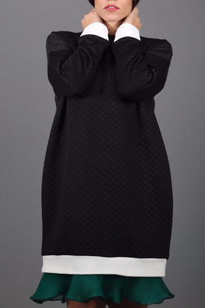 Quilted Sweater Dress with Silk Detail