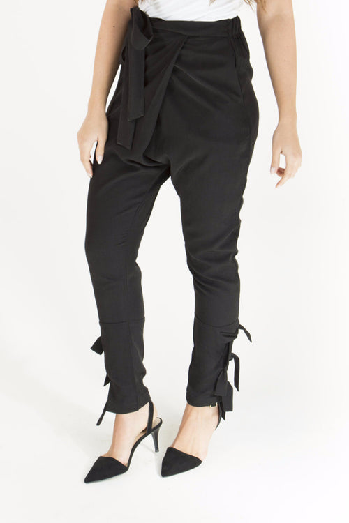 Black Ribbon Pants