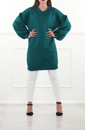 Quilted Puff Sleeve Sweatdress
