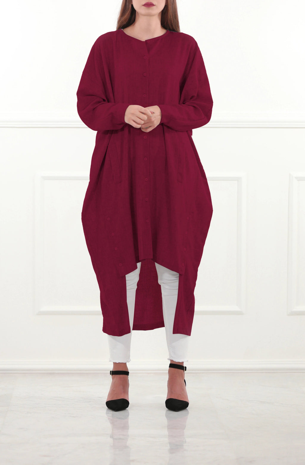 Brick Red Oversized Woolen Tunic
