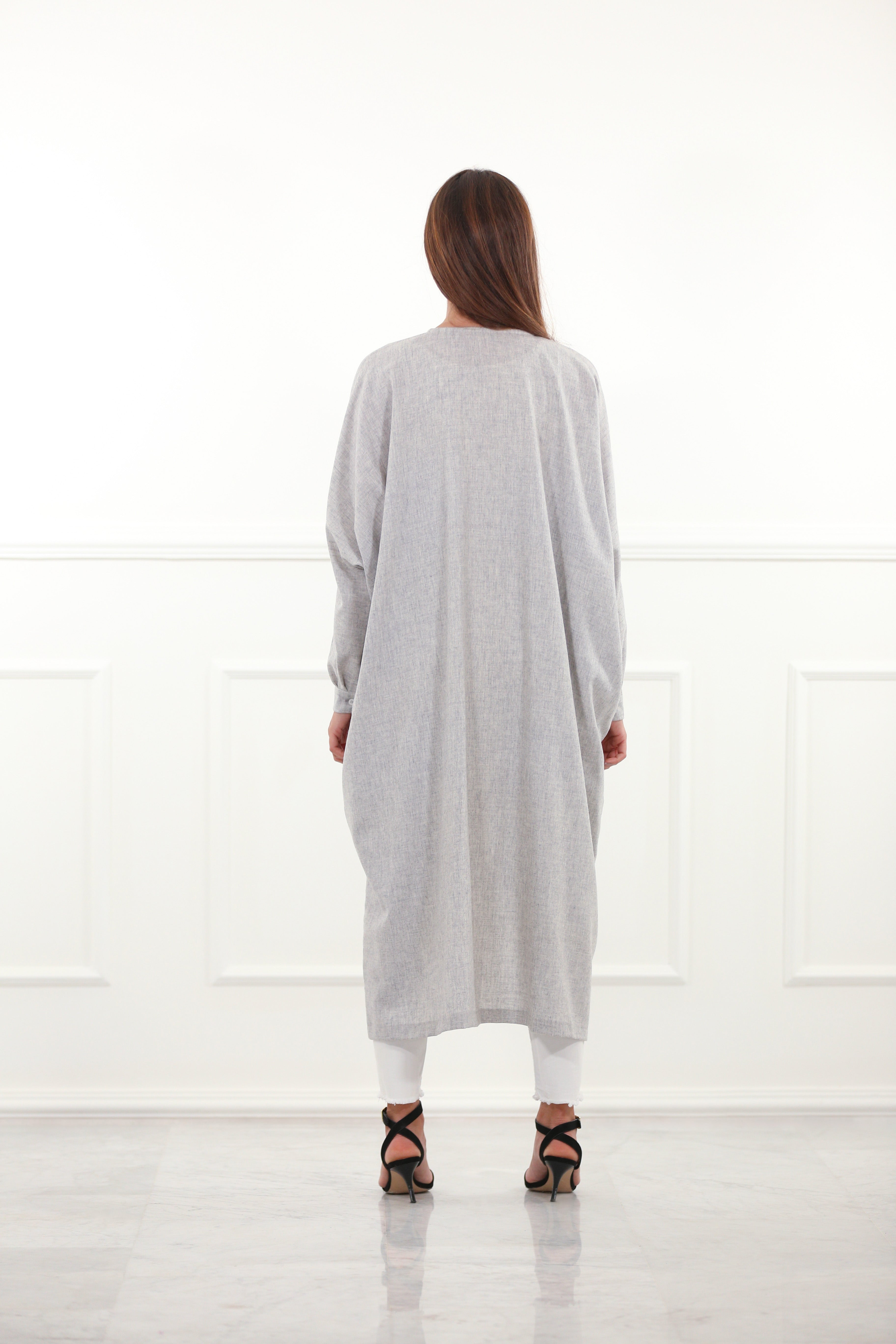 Grey Oversized Woolen Tunic