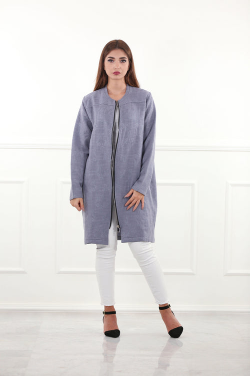 Relaxed Blue Woolen Jacket