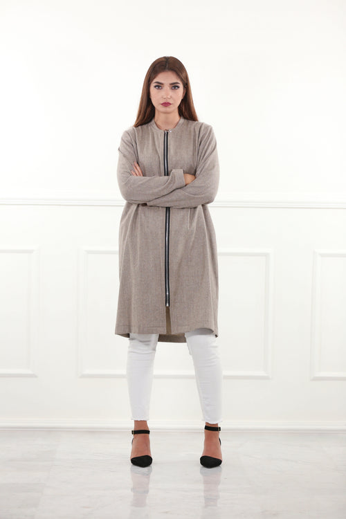 Relaxed Beige Woolen Jacket